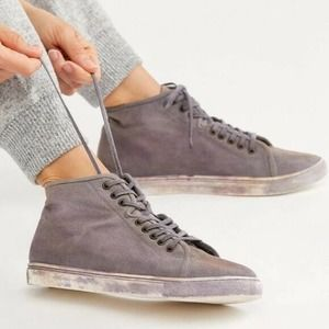 Free People River Run Gray Canvas High Top Sneaker